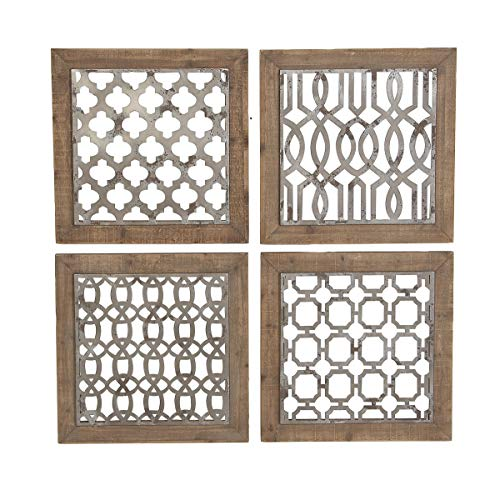 Ten Waterloo Metal and Wood Wall Decor, Set of 4 Framed Wall Tiles, 19.75 Inches x 19.75 Inches Each- 40 Inches x 40 Inches Total, Matte Grey Metal and Wood ()