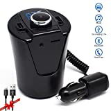 FM Transmiter,LUTUwireless in Bluetooth fm Transmitter for car Mp3 Player Accessories kit with Radio AUX Input Adapter,Handsfree Calling and USB Car Charger for iPhone 7 Etc.-Black