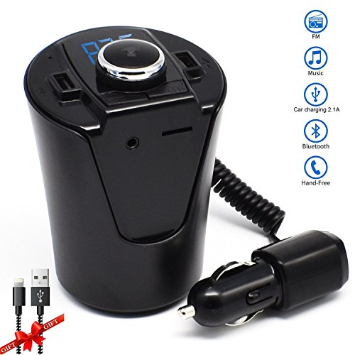 FM Transmiter,LUTUwireless in Bluetooth fm Transmitter for car Mp3 Player Accessories kit with Radio AUX Input Adapter,Handsfree Calling and USB Car Charger for iPhone 7 Etc.-Black by BX6