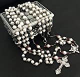 elegantmedical Handmade Real Pearl Sterling Silver Beads CAPS Lasso Wedding Rosary Cross Necklace Box