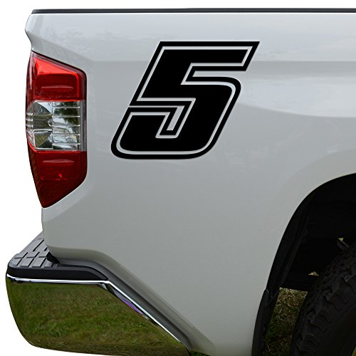 (Racing Race Number 5 Five Style 4 Die Cut Vinyl Decal Sticker For Go Kart Car Truck Motorcycle Window Bumper Wall Decor Size- [8 inch/20 cm] Tall Color- Gloss Black)