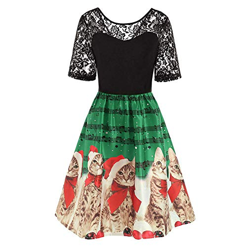 Womens Christmas Retro Lace Patchwork Flare Dress Cats Musical Notes Printing Vintage Party Dress