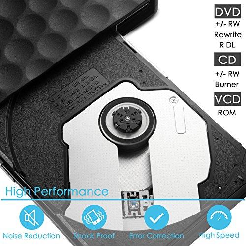 External DVD CD Drive, InThoor USB 3.0 Portable DVD CD Burner/Writer/Rewriter with High Speed Data Transfer for Laptop Desktop Support Windows XP/7/8/10/Vista/Mac OS (dvddrive) by InThoor (Image #3)