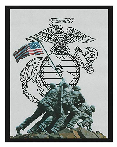 Signature Studios U.S. Marines Raising The Flag Iwo Jima Print WWII Poster Stars and Stripes 8x10 - Jima Iwo Marines Flag
