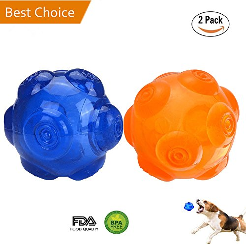 Dog Squeak Chew Toy Ball Durable Rubber Dog Toy Floating Throw Toy Training Playing Pet Balls for Small Medium and Large Dogs - Blue and Orange, 3.6 Inch