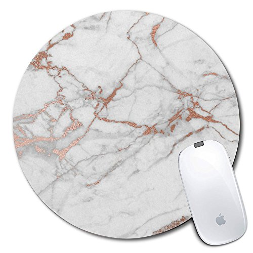 (iNeworld Personalized Round Mouse Pad, Printed Marble Pattern, Non-Slip Rubber Comfortable Customized Computer Mouse Pad (7.87x7.87inch) )