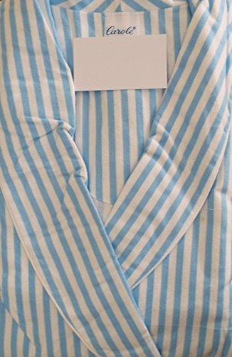 Robe Flannel White (Carole Women's Bathrobe Striped Cotton Flannel Wrap Robe Made In USA (Large, Blue/White Stripe))