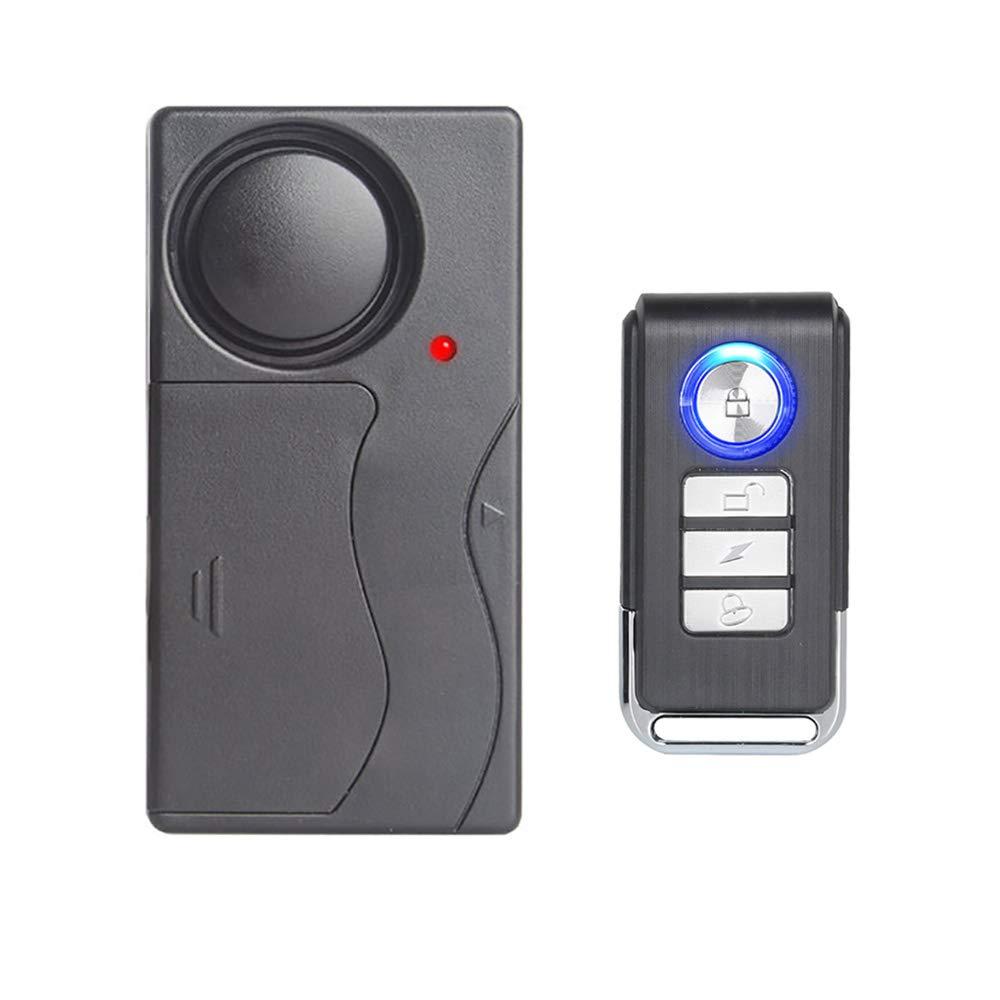 Mengshen Alarma de Vibración Inalámbrica, Alarma Antirrobo para Bicicleta/Motocicleta/Automóvil/Vehículos/Puerta/Ventana, 110db de Voz Alta (Control ...