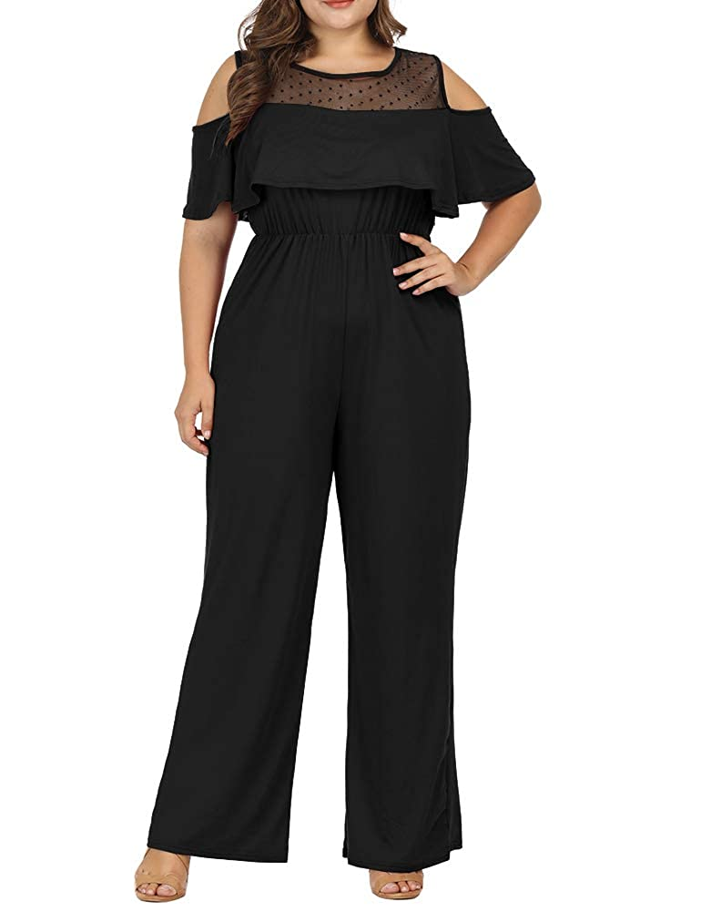 e2f3942cd5 Amazon.com  Allegrace Women Plus Size Cold Shoulder Lace Jumpsuit Flounce  Sleeve Long Rompers  Clothing