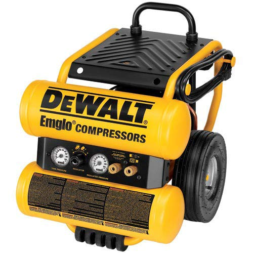 Factory-Reconditioned DEWALT D55154R Heavy-Duty 1.1 Horsepower Continuous 4 Gal Electric Wheeled Dolly-Style Air Compressor with Panel ()