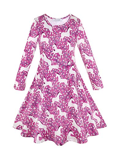 Unicorn Birthday Party Supplies Long Sleeve Dresses for Girls Pink 8-9 Years