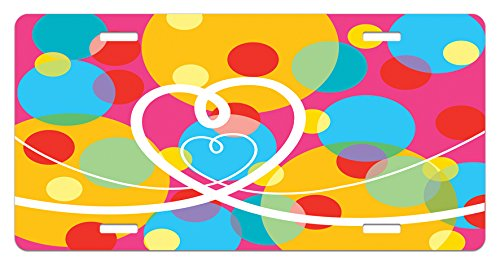 Lunarable Groovy License Plate, Pop Dots Different Sized Circles and Loopy Hearts Colorful Fun Retro Artwork, High Gloss Aluminum Novelty Plate, 5.88 L X 11.88 W Inches, Pink Multicolor