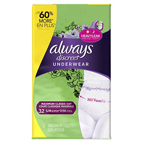 Always Discreet, Incontinence Underwear for Women, Maximum Classic Cut, Small/Medium, 32 count