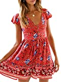 KIRUNDO Women's 2019 Summer Hot Short Sleeve V-Neck High Waist Floral Print Mini Boho Sun Dress with Button (X-Large, Red)