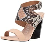 Calvin Klein Women's Emmett Heeled Sandal, Sheer Satin Snake Leather, 5 Medium US