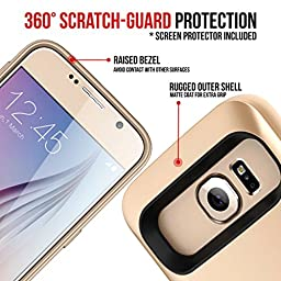 Galaxy S6 Battery Case, Alpatronix BX410 3500mAh Slim External Protective Removable Rechargeable Portable Charging Case for Samsung Galaxy S6 [S6 Charger Case / Android OS 6.0+ Support] - (Gold)
