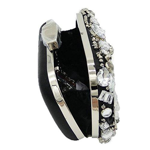 À Sac Orfila Robe Pochette Strass Noble Main Cristal Soirée Black Épaule Femme Mariage qvTzAqxnZH