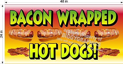 2' X 4' VINYL BANNER BACON WRAPPED HOT DOGS NEW FUN!