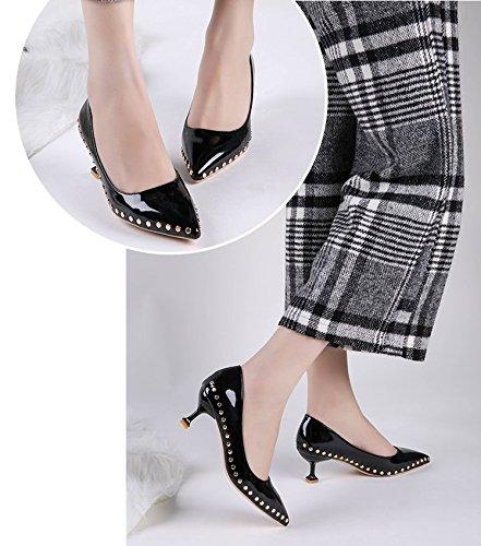 GAOLIM Punta del Alto Talón Zapatos Finos con Muelle De Remache Boca Superficial con Solo Zapatos A La Luz del Alto-Heel Shoes, Y (3-5Cm) Negro