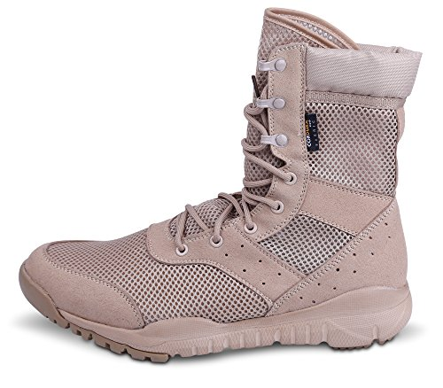 WWOODTOMLINSON Men's LD Lightweight Combat Boots Military Tactical Boots,Tan Mesh,11.5 M US ()