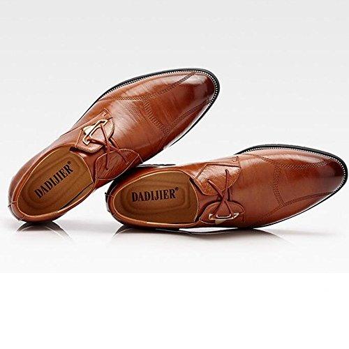 stringate Oxford Scarpe e lacci da shoes Marrone Jiuyue in Scarpe 2018 da EU uomo 39 Uomo Dimensione Pelle Color uomo con Nero pelle Pn7xv