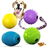 FunniPets 4-Pack Interactive Dog Toys, Dog Treat Ball Floatable Dog Ball Durable Dog Chew Toys Dog Rope Toys Dog Puzzle Toys for Medium and Large Dogs