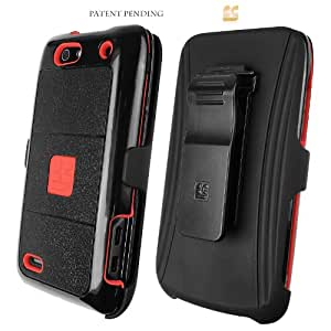 Red/Black Rugged Shield Case Holster Combo+Screen Cover for Motorola Droid 4