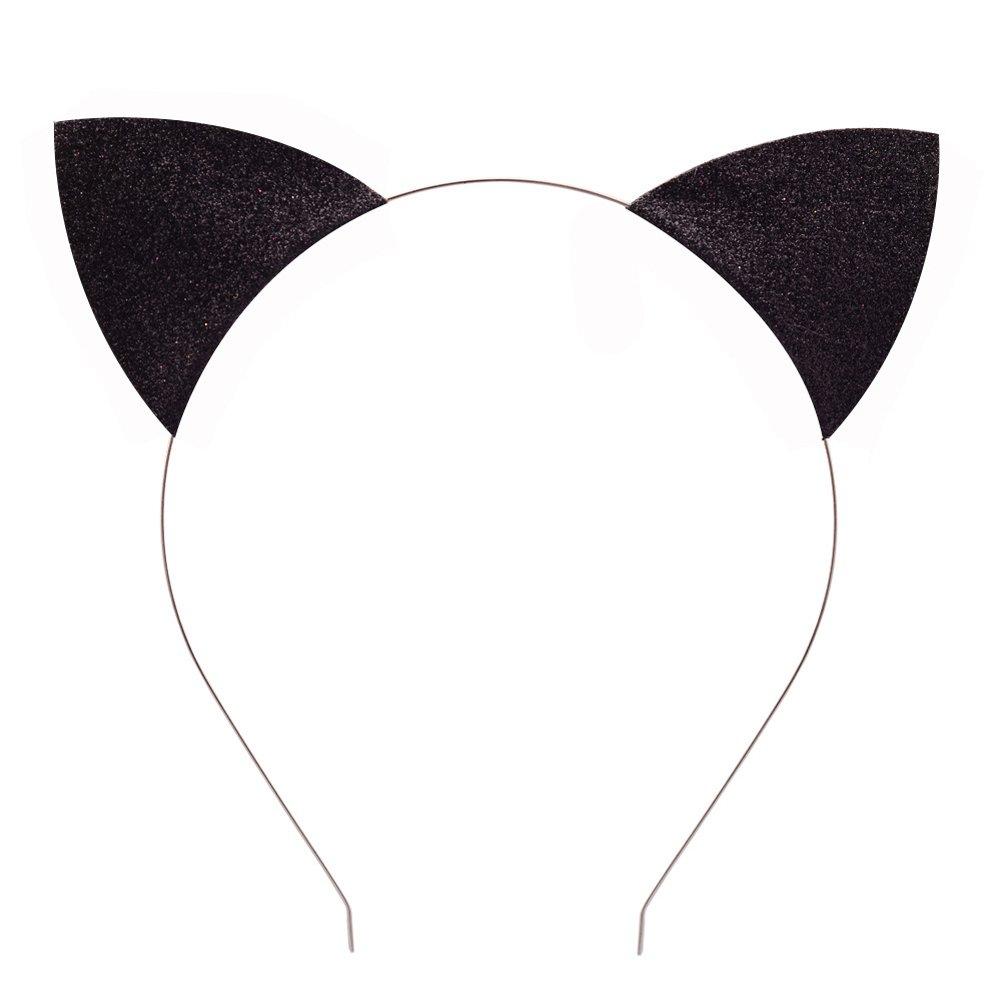 Merroyal Glitter Cat Ears Headband Halloween Fancy Dress Cat Woman Hairband Cosplay (Black): Beauty