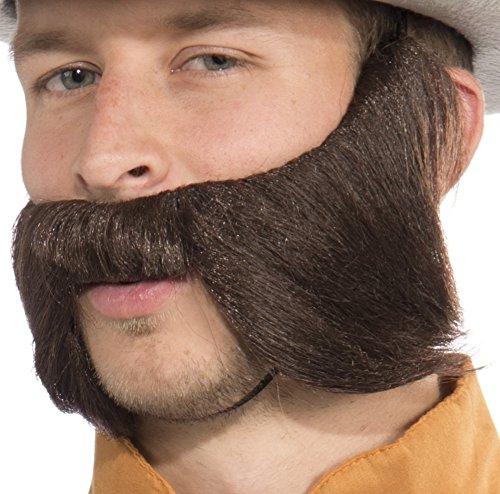 Brown Biker Beard & Mustache (Forum Novelties Men's Bad Biker Novelty Beard, Brown, One Size)