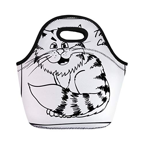 Semtomn Lunch Bags Super Thug Kitty Holiday Rest Infantile Outline Sketch Cat Neoprene Lunch Bag Lunchbox Tote Bag Portable Picnic Bag Cooler Bag