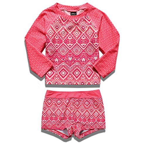 PHIBEE Girls' Rash Guard Set Long Sleeve UPF 50+ Sun Protection Two-Piece Swimwear Red2 12