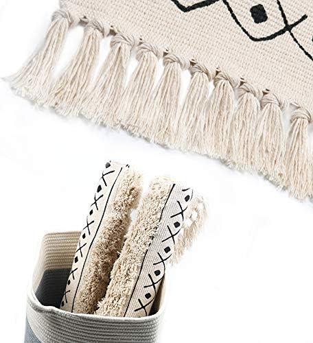 pour Balcon Salon Chambre SHACOS Tapis de Cuisine Zone Tapis avec Frange en Coton paillasson Tapis dentr/ée Couloir Noir Tapis Tiss/és Lavable