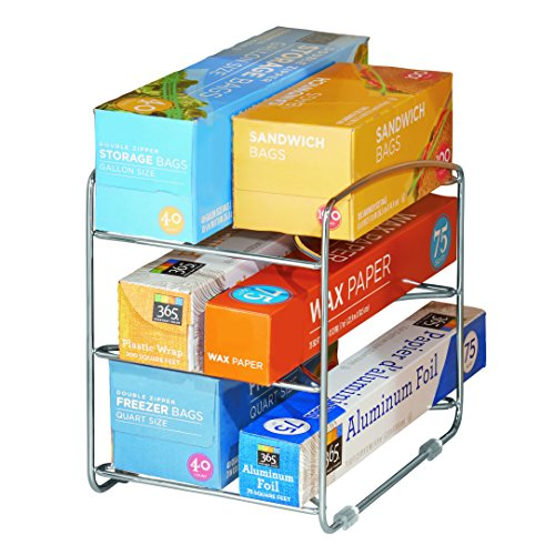 InterDesign Classico Kitchen Organizer Rack for Aluminum Foil, Sandwich Bags, Plastic Wrap - 3 Shelves, Chrome (Sandwich Rack)