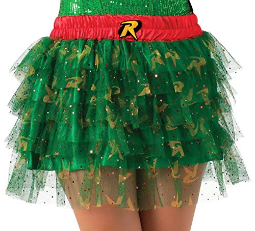 Secret Wishes  DC Comics Justice League Superhero Style Adult Skirt with Sequins Robin, Red, One -