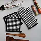 Cotton Oven Mitten And Pot Holders,3 Piece Set, Black & White Check For Everyday Use