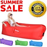 Inflatable Lounger, Air Lounger Hangout Sofa 2017 Upgraded Great Home Air Chair Holds Air 50% Better Hangout Bag Inflatable Chair Air Sofa Air Couch Lazy Bag Air Hammock Inflatable Hammock