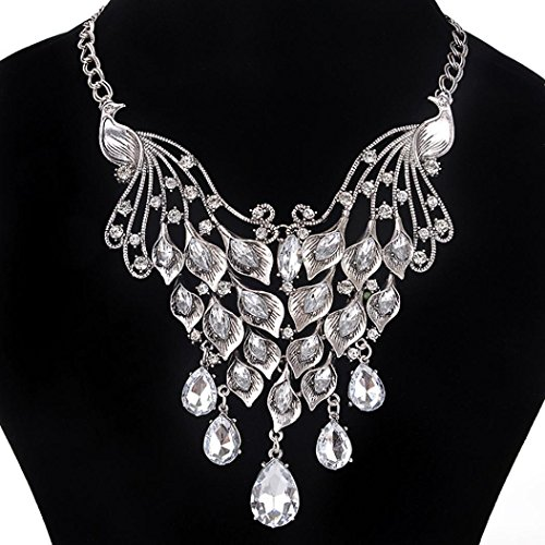 Vibola Women Fashion peacock Crystal Necklace Jewelry Statement Pendant Charm Chain (Female Peacock Costume)
