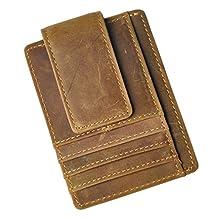 Le'aokuu Mens Genuine Leather Cowhide Magnet Money Clip Credit Case Case Holder Slim Wallet (W1015 Light Brown)