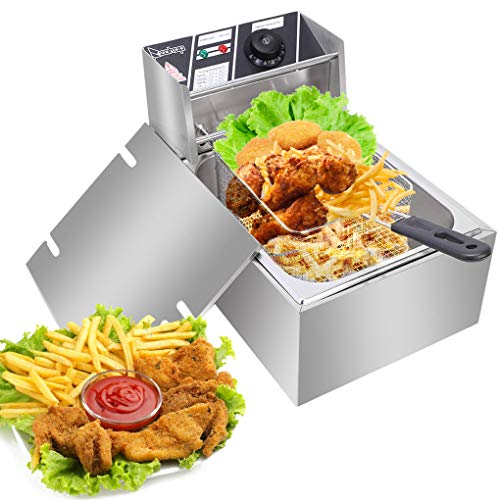 Deep Fryer Tank 2500W Stainless-Steel Basket Electric Fryer with Timer Free Extra Odor Filter,6L/6.3QT Oil Fryer Oil Filtration for Commercial Restaurant Countertop Kitchen Adjustable Temp