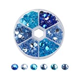 PandaHall About 250pcs 1 Box 6 Colors 8mm Faceted Flat Round No Hot Fix Acrylic Rhinestones Glitter Decorations 3D Diamond Gems for Cell Phone Nail Art Style 7