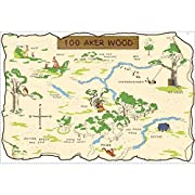 Roommates Rmk1502Slm Pooh And Friends 100 Aker Wood Map Peel & Stick Giant Wall Decal