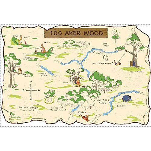 Roommates Rmk1502Slm Pooh And Friends 100 Aker Wood Map Peel & Stick Giant Wall - Pooh Mirror