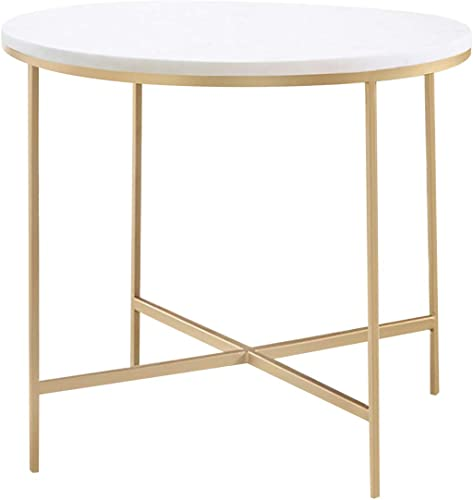 Coaster Home Furnishings Round X-Cross White and Gold end Table