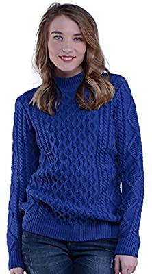 Knit&love® Women's Mock-Neck Long Sleeve Loose Thick Cable Knit Pullover Sweater
