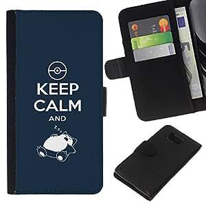 LECELL--Cuero de la tarjeta la carpeta del tirón Smartphone Slots Protección Holder For Samsung ALPHA G850 -- Guarde la calma y el sueño --