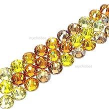 144 pcs (1 gross) Swarovski 2058 Xilion / 2088 Xirius Rose crystal flat backs No-Hotfix rhinestones nail art GOLD YELLOW Colors Mix ss20 (4.7mm) **FREE Shipping from Mychobos (Crystal-Wholesale)**