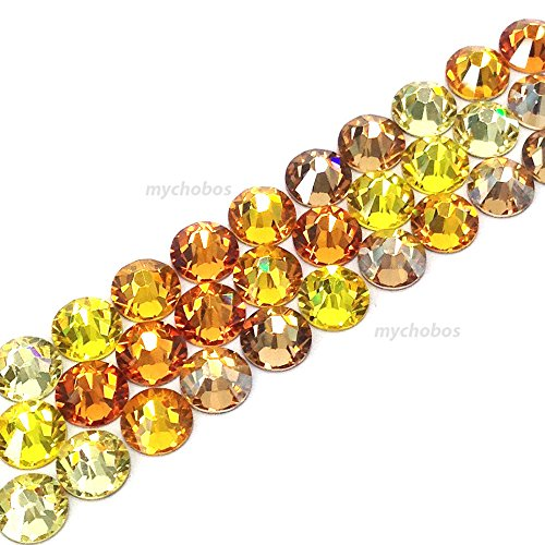 - 144 Swarovski 2058 Xilion / 2088 Xirius Rose crystal flat backs No-Hotfix rhinestones GOLD YELLOW Colors Mix ss20 (4.7mm)