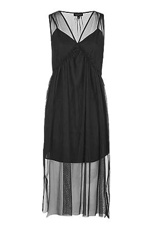 TOPSHOP Tulle Midi Dress - Black (10 (US 6))