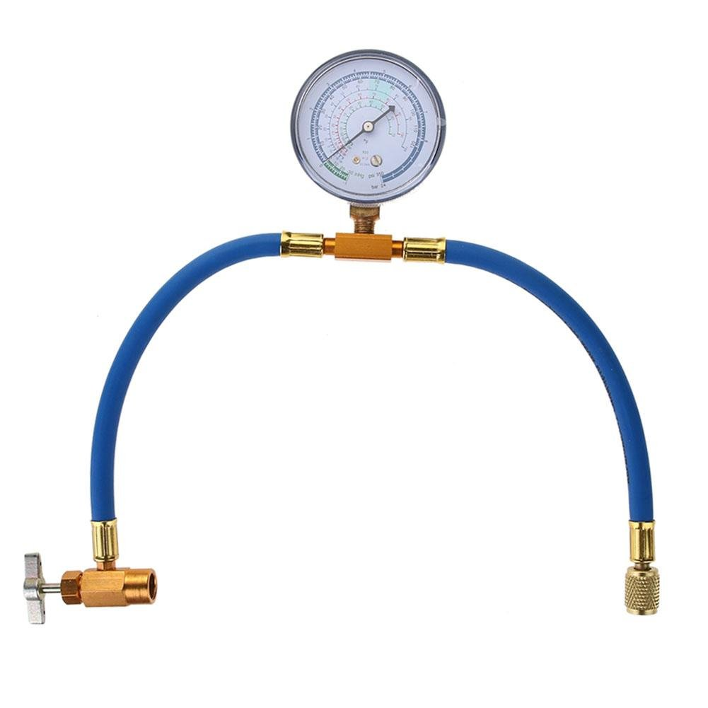 R134A Car Air Conditioning Refrigerant Recharge Hose Pipe+ Pressure Gauge Sikiwind HOSPORT