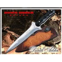 Down Under Knives Dukda Death Adder Fixed Blade Knife With Leather Sheath.